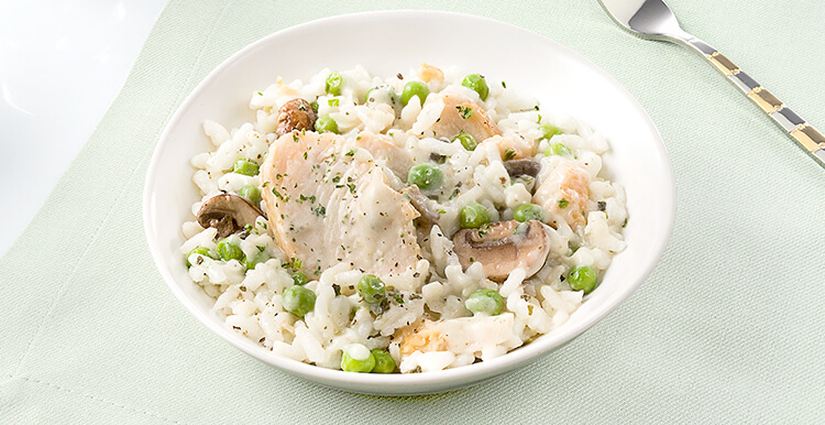Risotto with Turkey, Mushrooms, and Peas